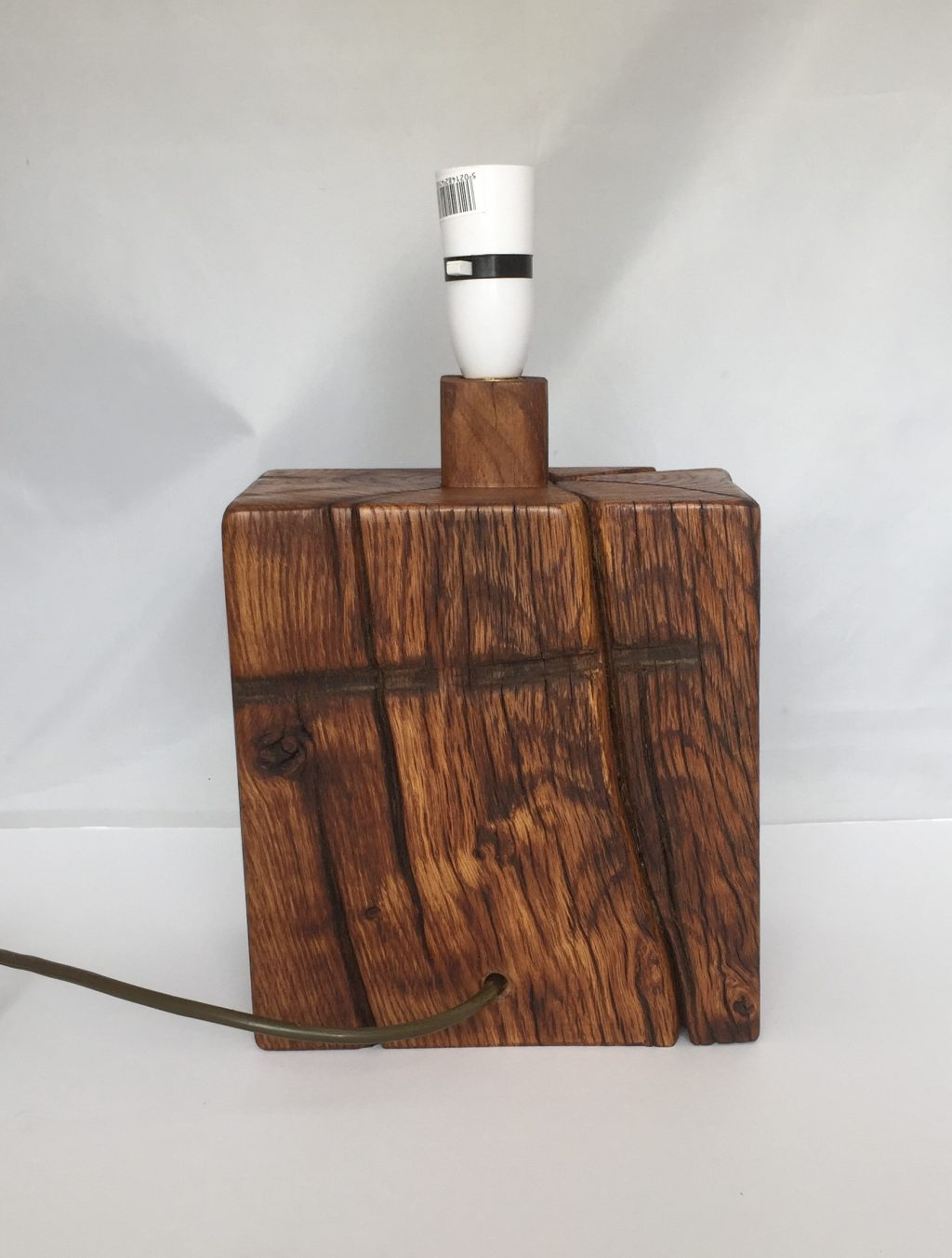 Unusual Solid Oak Table Lamp
