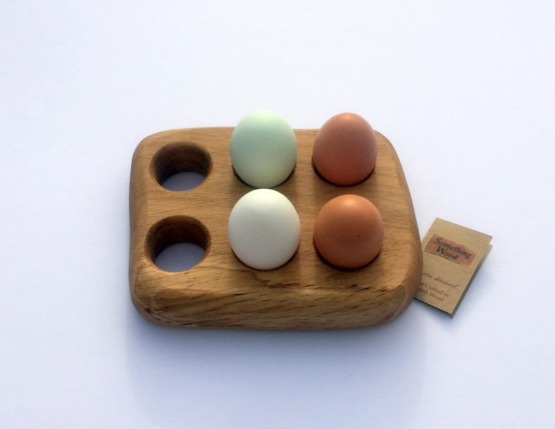 Natural Oak 6 egg rack with eggs